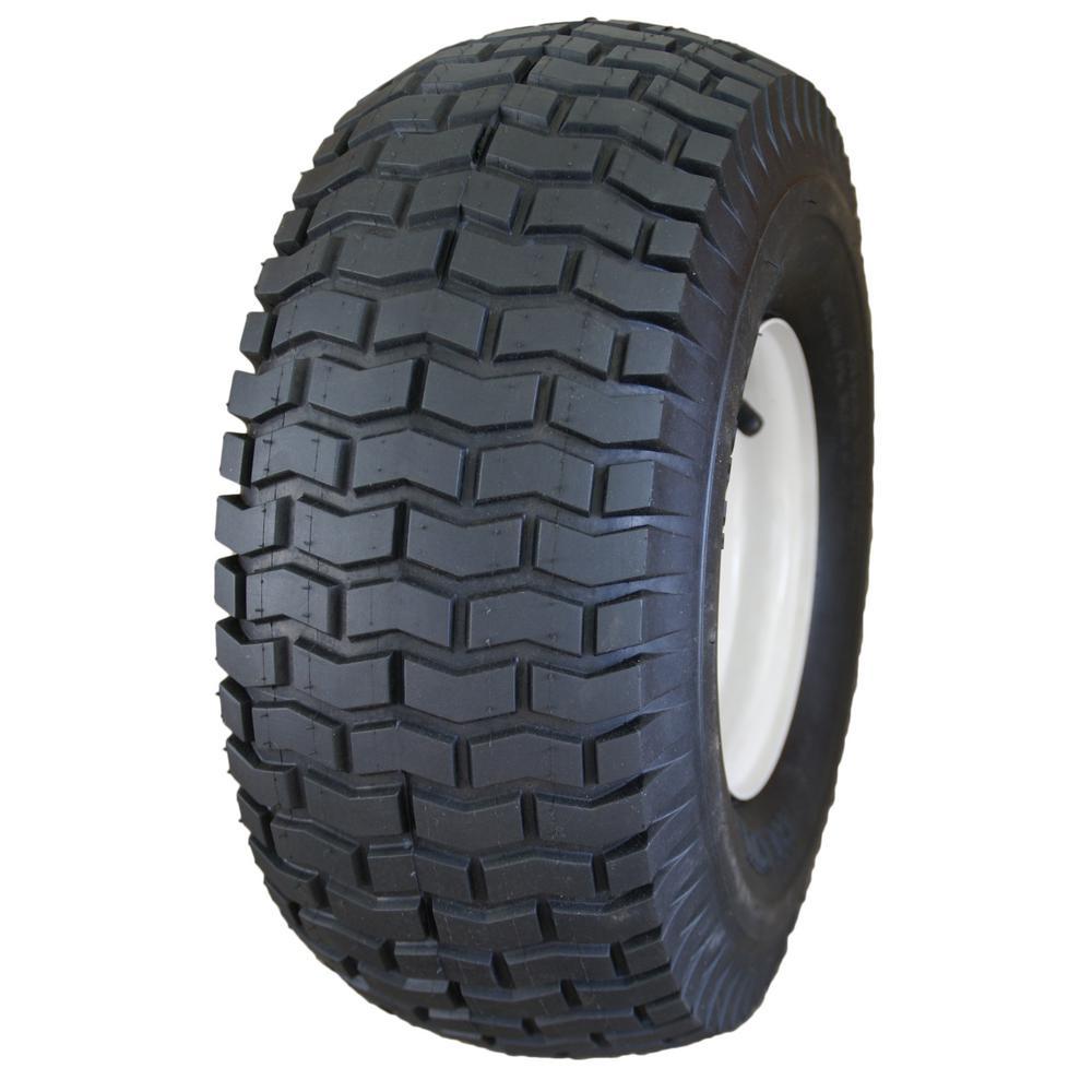 Lawn/Garden Tire 15 x 6.00-6 2Ply SU12 Mounted on 6 x 4.5 Greyish White Solid Wheel W/Zerk & Metal Bushings of 3/4 I.D.