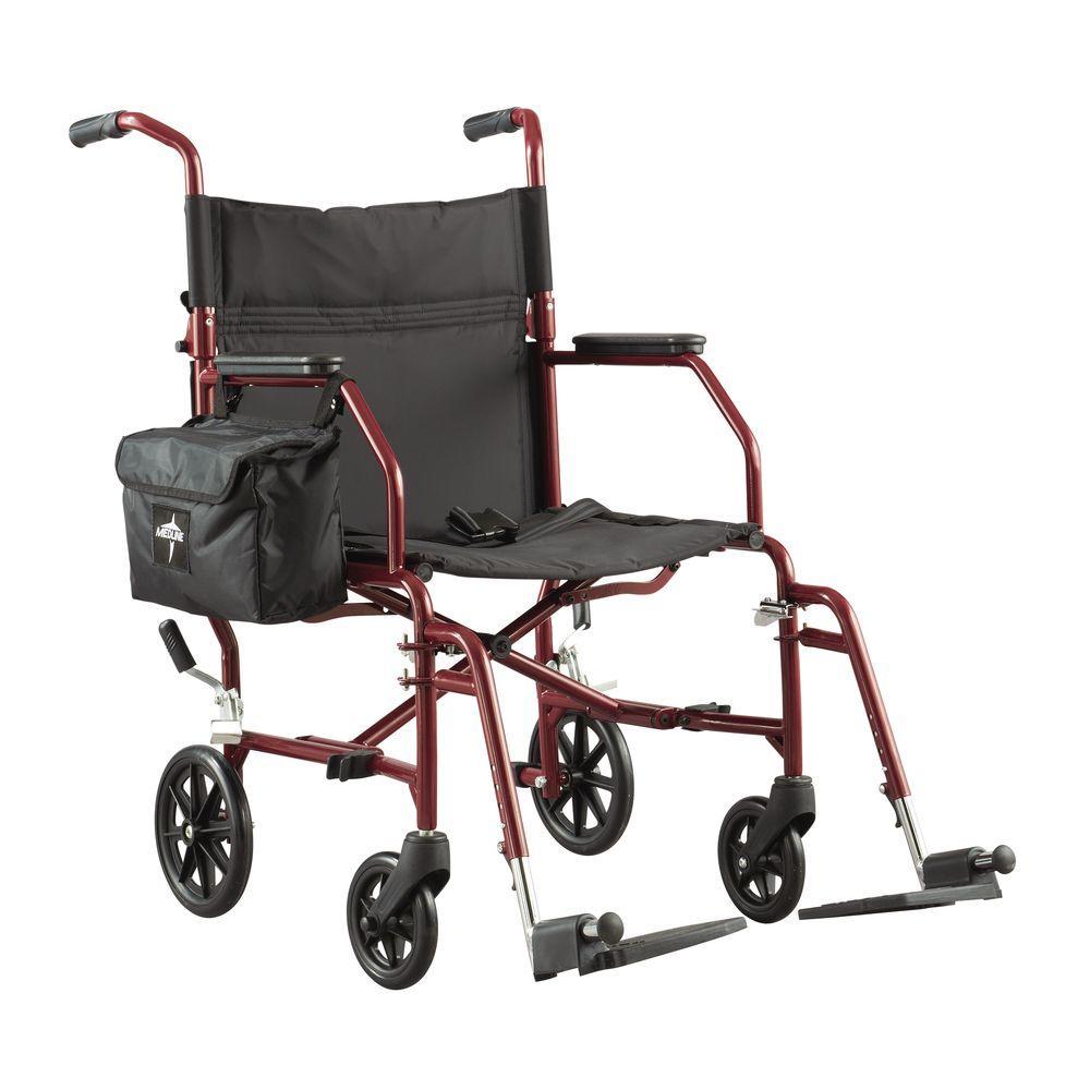 Medline Ultra-Light Steel Transport Wheelchair in Silver-MDS808200W ...