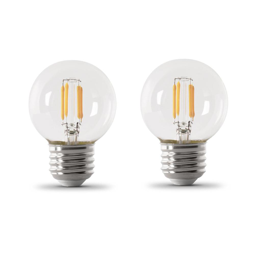 Feit Electric 40-Watt Equivalent G16.5 Medium Dimmable Filament LED ENERGY STAR Clear Glass Light Bulb, Soft White (2-Pack)