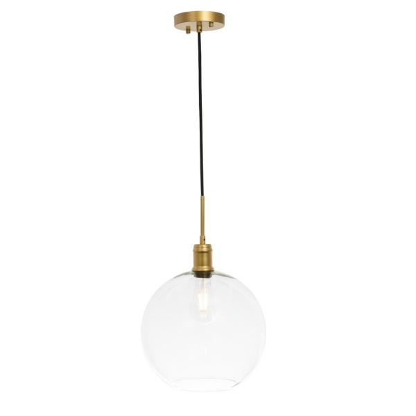 Timeless Home Eduardo 1-Light Pendant in Brass with 12.5 in. W x 11.5 in. H Clear Glass Shade Glass