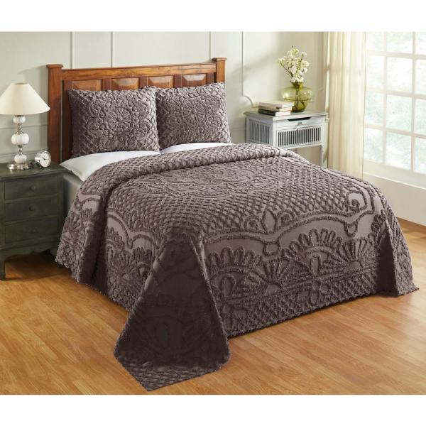 TREVOR TUFTED CHENILLE BEDSPREAD AND PILLOW SHAM COMPLETE SET ALL COTTON