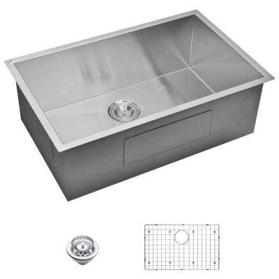 Undermount Zero Radius Stainless Steel 30x19x10 0-Hole Single Bowl Kitchen Sink with Strainer and Grid in Satin Finish