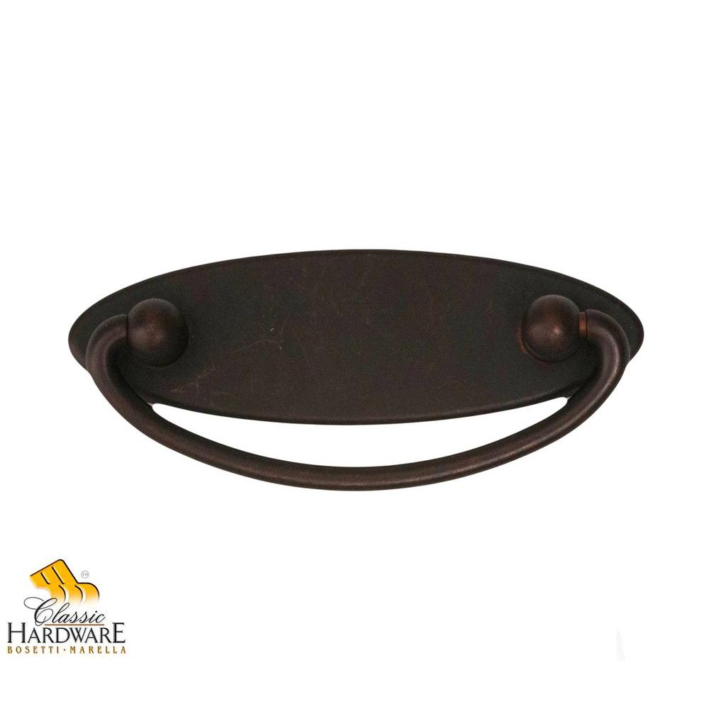 Classic Series 3.74 in. Oil-Rubbed Bronze Drop Pull with Backplate