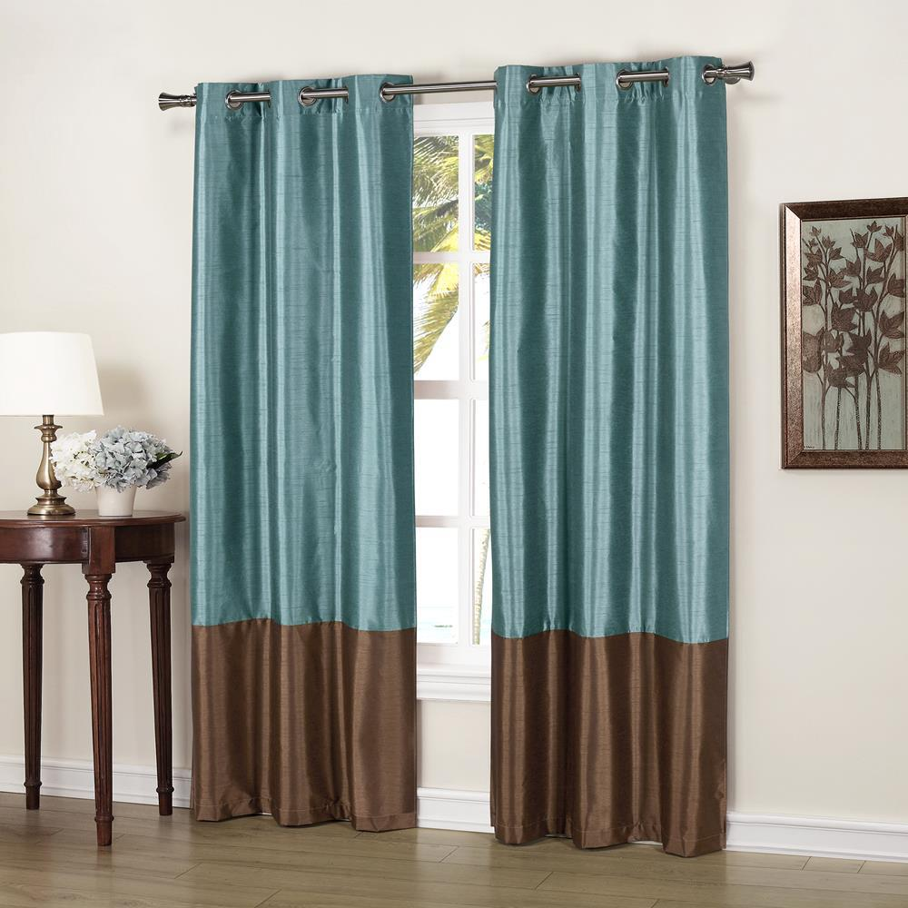 Duck River Bridgette 37 In X 84 L Polyester Faux Silk Curtain Panel Blue Chocolate 2 Pack