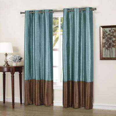 Bridgette 37 in. x 84 in. L Polyester Faux Silk Curtain Panel in Blue-Chocolate (2-Pack)
