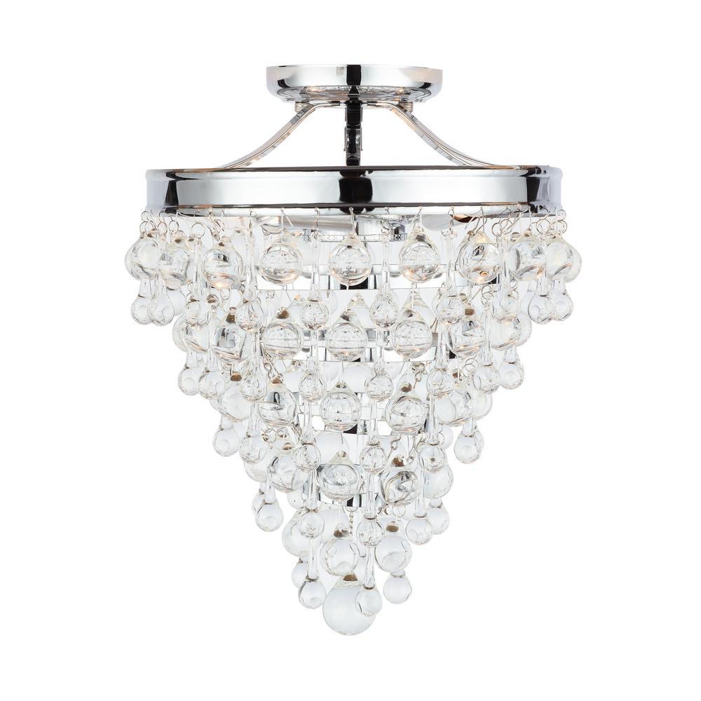 Home Decorators Collection 3-Light Chrome Crystal Semi-Flush Mount