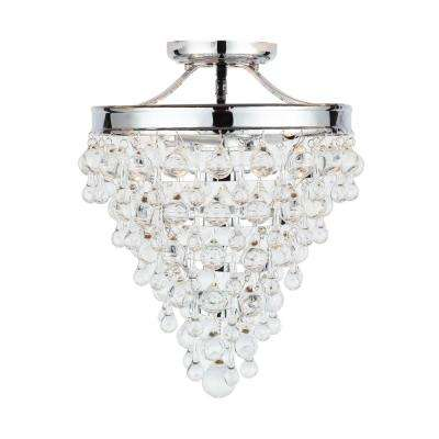 3-Light Chrome Crystal Semi-Flush Mount