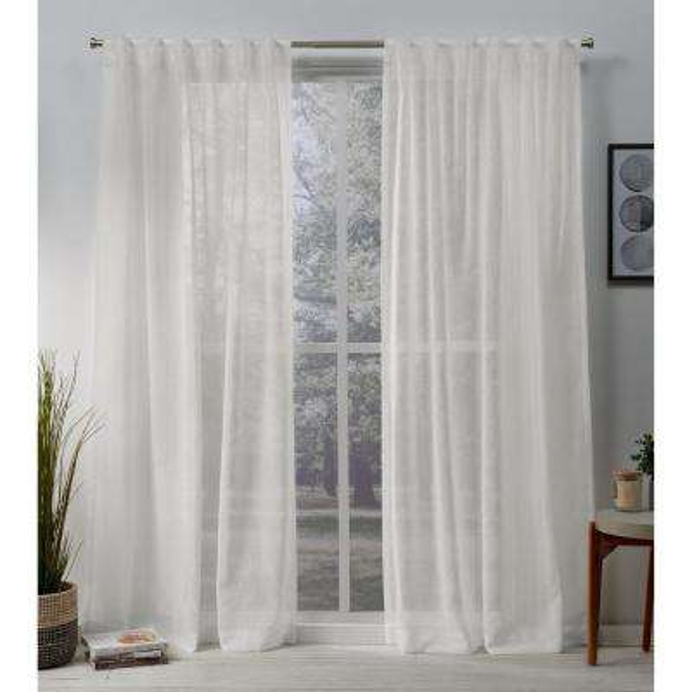 Belgian 50 in. W x 84 in. L Sheer Hidden Tab Top Curtain Panel in Snowflake (2 Panels)