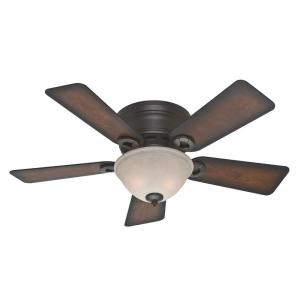 Hunter Conroy 42 inch Indoor Onyx Bengal Bronze Low Profile Ceiling Fan with Light Kit by Hunter