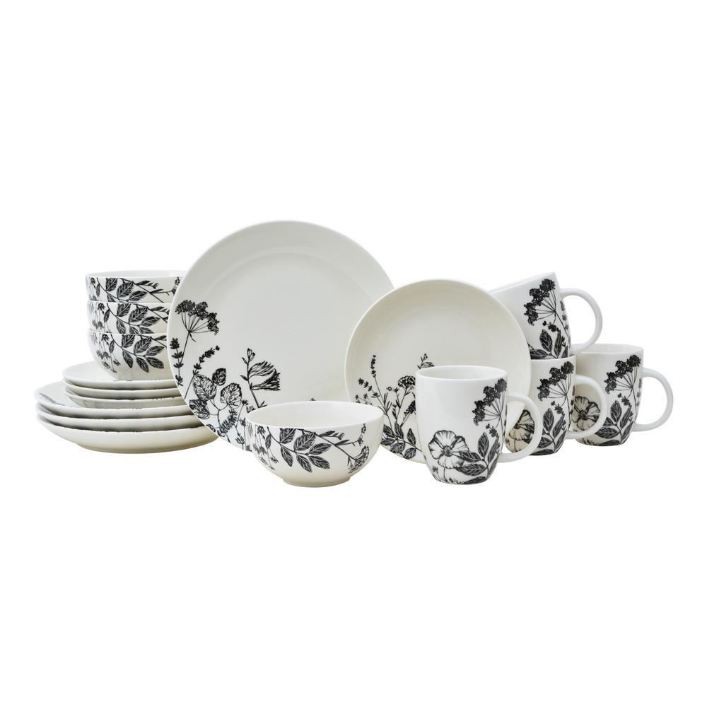 Braddock 16-Piece Black Porcelain Dinnerware Set