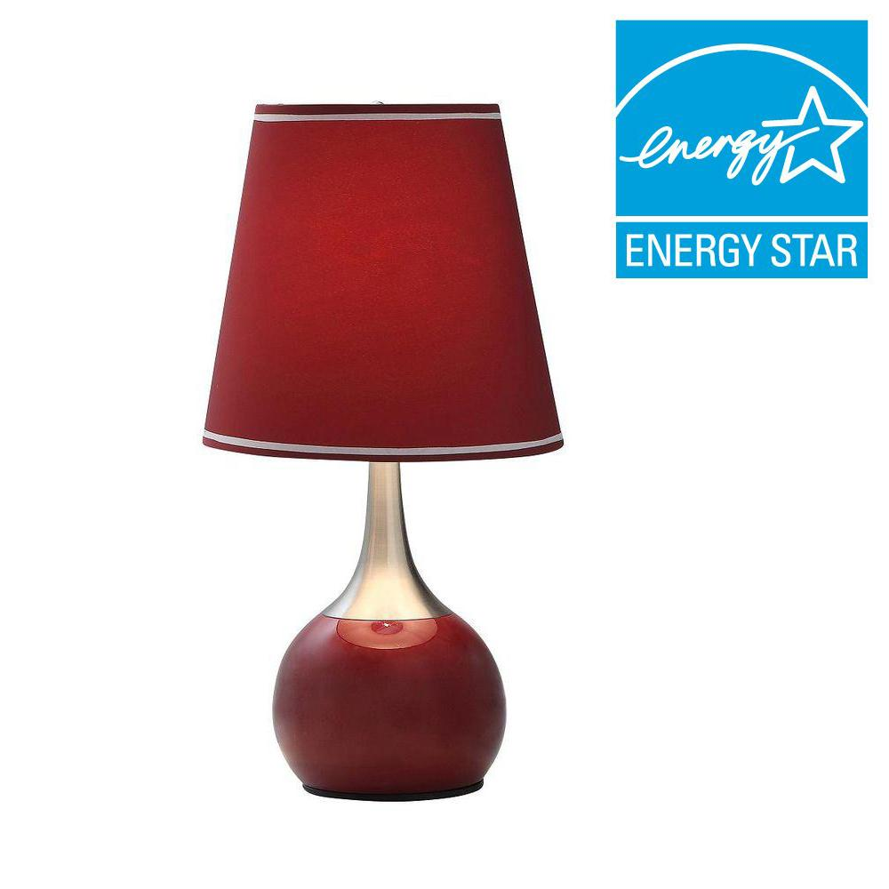 Touch Table Lamp 3 Way Control Modern Red Harp Style Shade Sleek