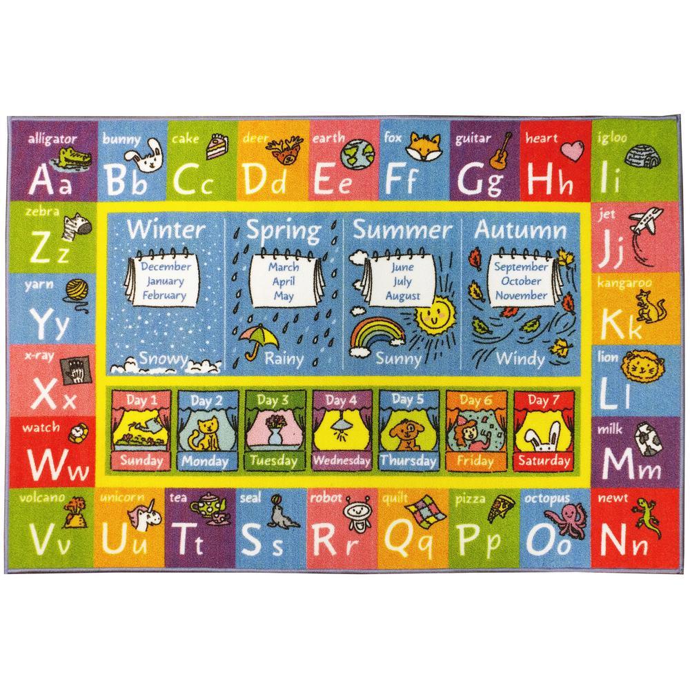 Multi-Color Kids Children Bedroom ABC Alphabet Seasons Months Days Educational Learning 3 ft. x 5 ft. Area Rug
