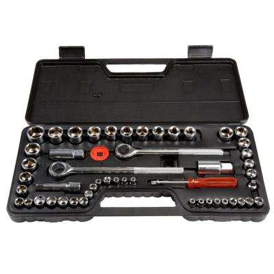 1/4, 3/8 and 1/2 Drive Socket Set SAE and Metric (52-Piece)