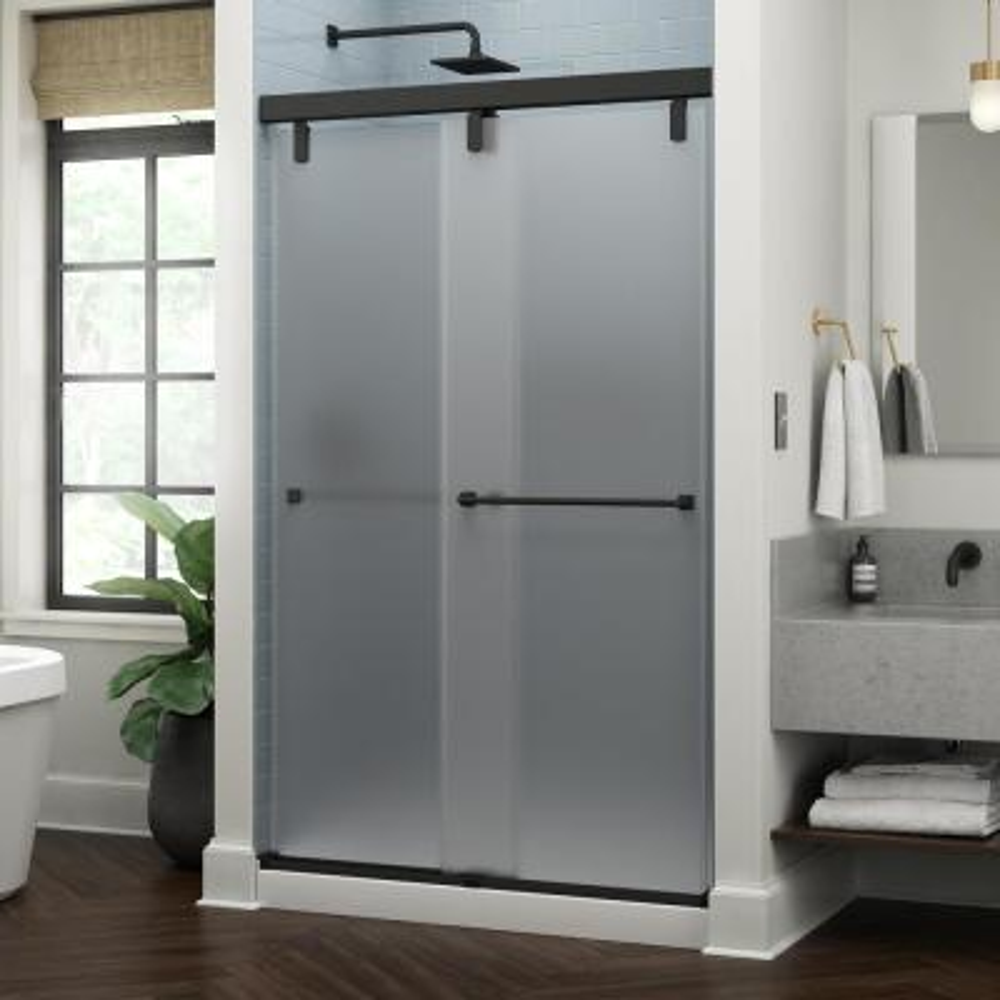 Everly 48 in. x 71-1/2 in. Mod Semi-Frameless Sliding Shower Door in Matte Black and 3/8 in. (10mm) Niebla Glass