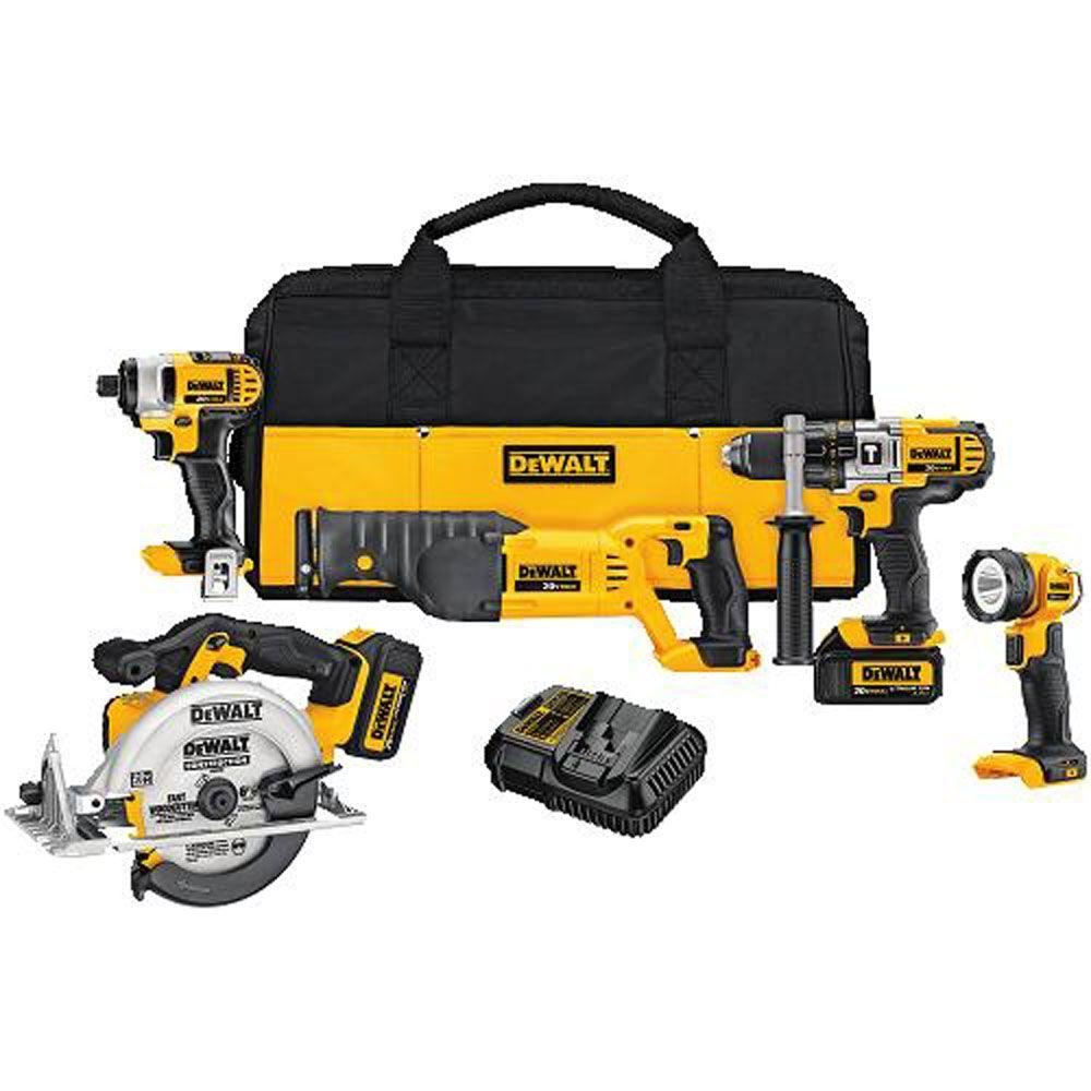 DEWALT 20-Volt MAX Lithium-Ion Cordless Combo Kit (5-Tool) with (2) Batteries 3.0Ah, Charger and Tool Bag