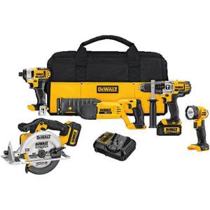 Dewalt 20-Volt MAX Lithium-Ion Cordless Combo Kit (5-Tool) with (2) Batteries 3Ah, Charger and Contractor Bag by DEWALT