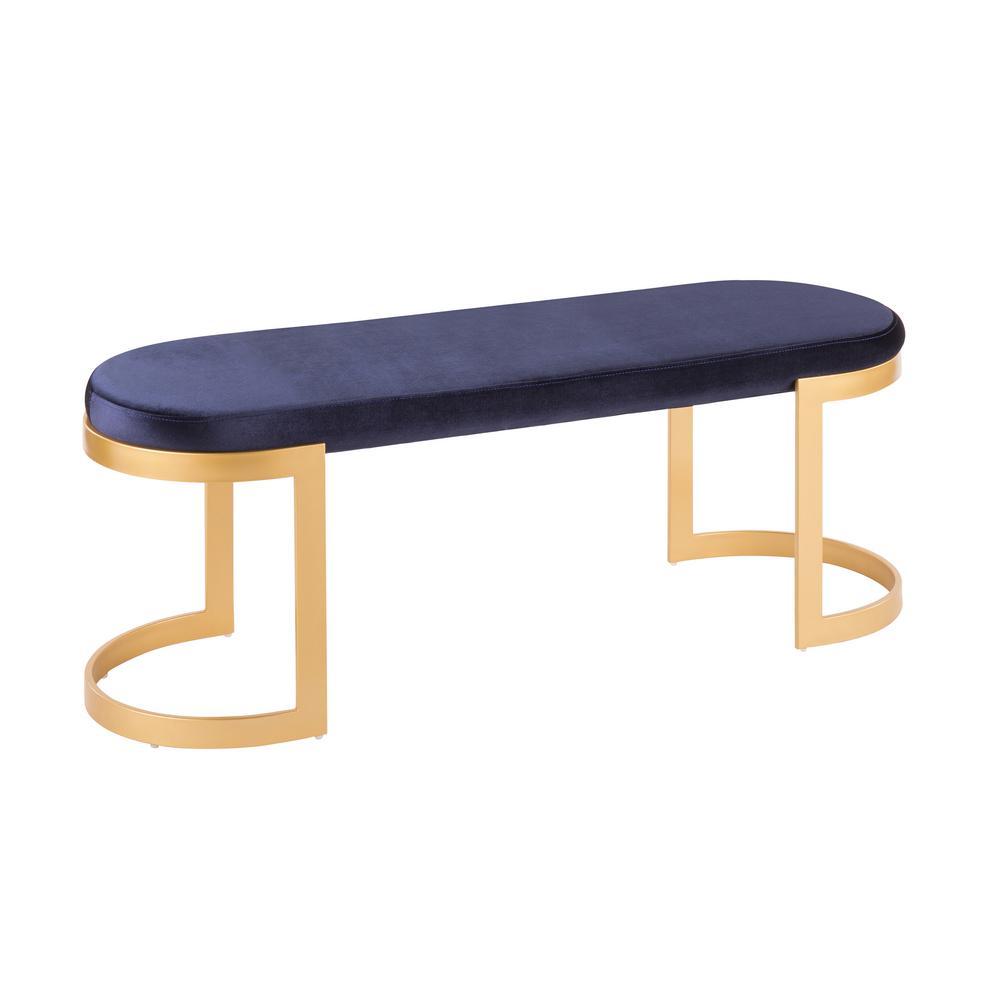 blue velvet bench. Lumisource Demi Gold And Blue Velvet Bench