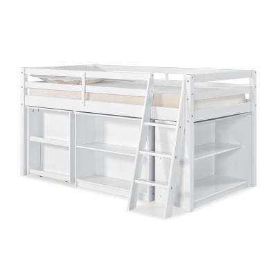 Roxy White Wood Twin Junior Loft Bed with Pull-out Desk, Shelving and Bookcase