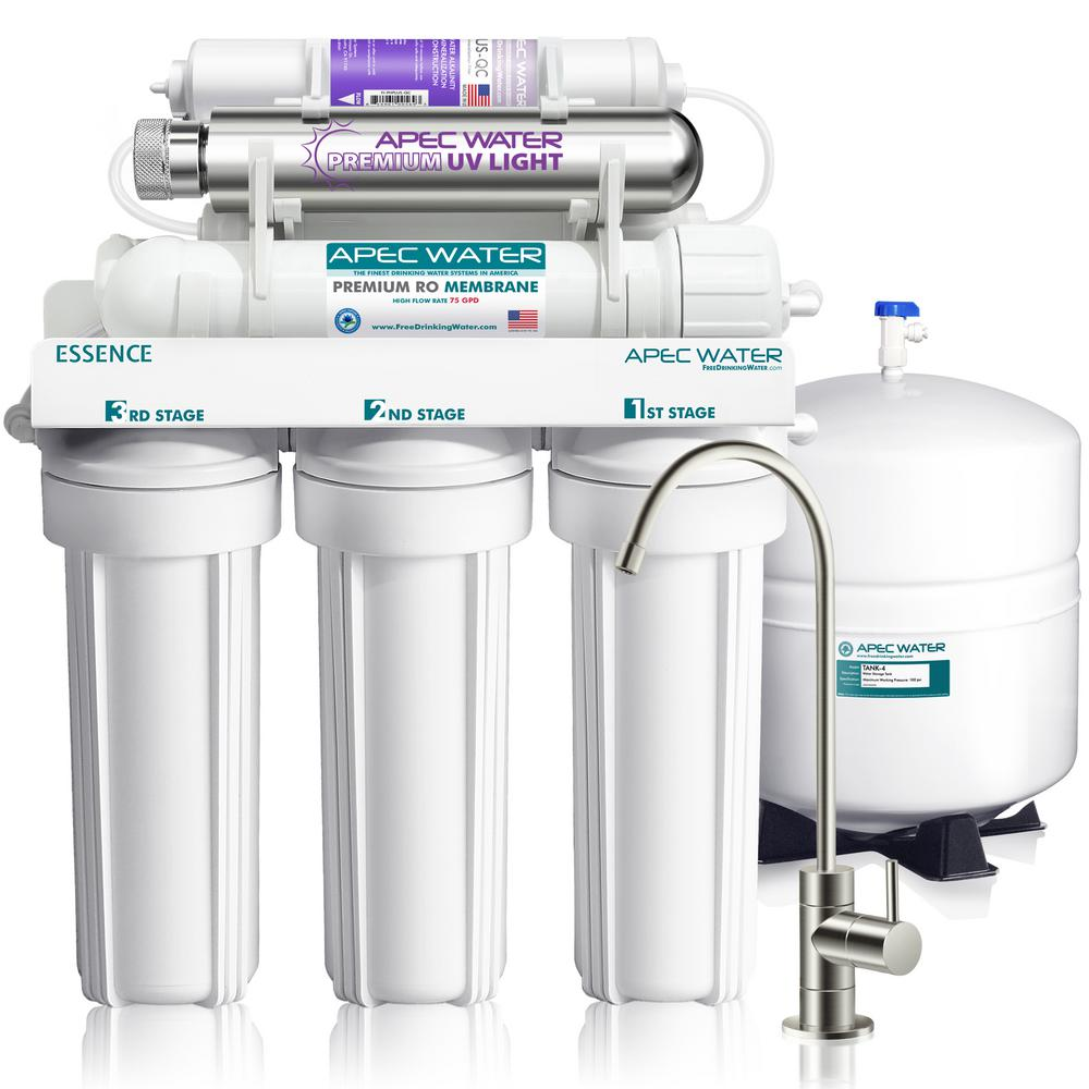 APEC Water Systems Essence 75 GPD 7-Stage Reverse Osmosis Water Filtration  System with Alkaline Mineral pH+ and UV Ultra-Violet Sterilizer