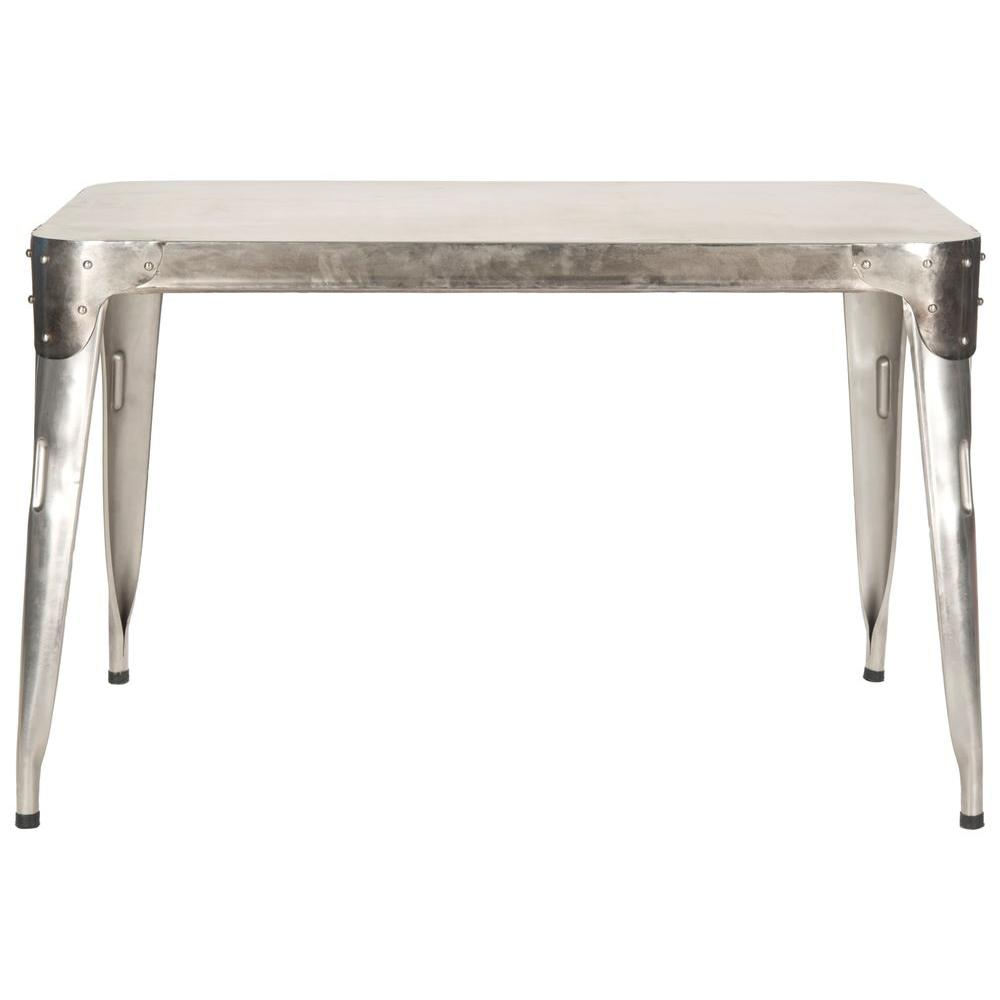 Safavieh Dining Table: Safavieh Weston Dark Antique Silver Dining Table-FOX7204A