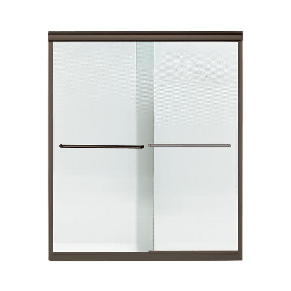 Finesse 59-5/8 in. x 70-1/16 in. Semi-Frameless Sliding Shower Door in Deep Bronze with Handle