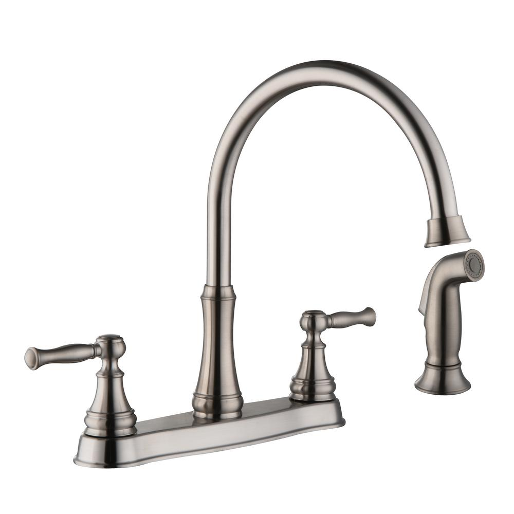 Glacier Bay Fairway 2-Handle Standard Kitchen Faucet with Side Sprayer in Stainless Steel