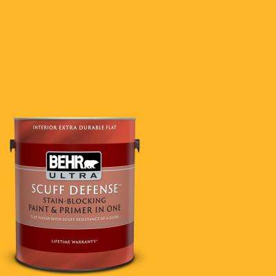 1 gal. #P260-7 Extreme Yellow Extra Durable Flat Interior Paint and Primer in One