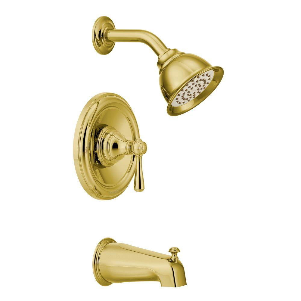 MOEN Kingley Single Handle Posi-Temp Tub and Shower Trim Kit in Polished Brass (Valve Not Included)