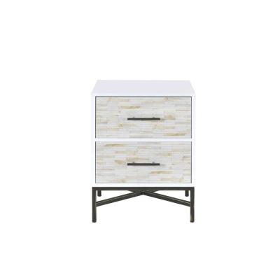Amelia 2-Drawer 20 in. x 18 in. x 26 in. White And Black Weathered Wood Nightstand