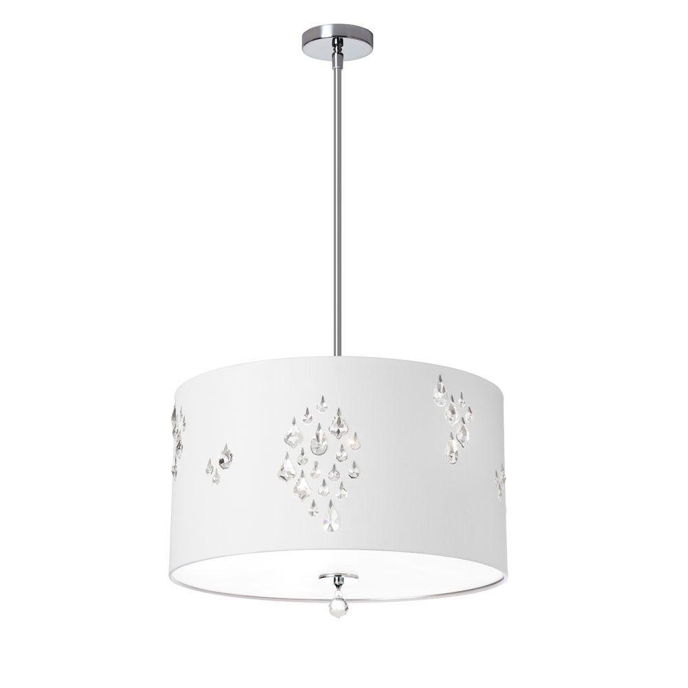 Radionic Hi Tech Rhiannon 3-Light White/Silver Back Pendant with White Baroness Drum Shade and Crystal Accents