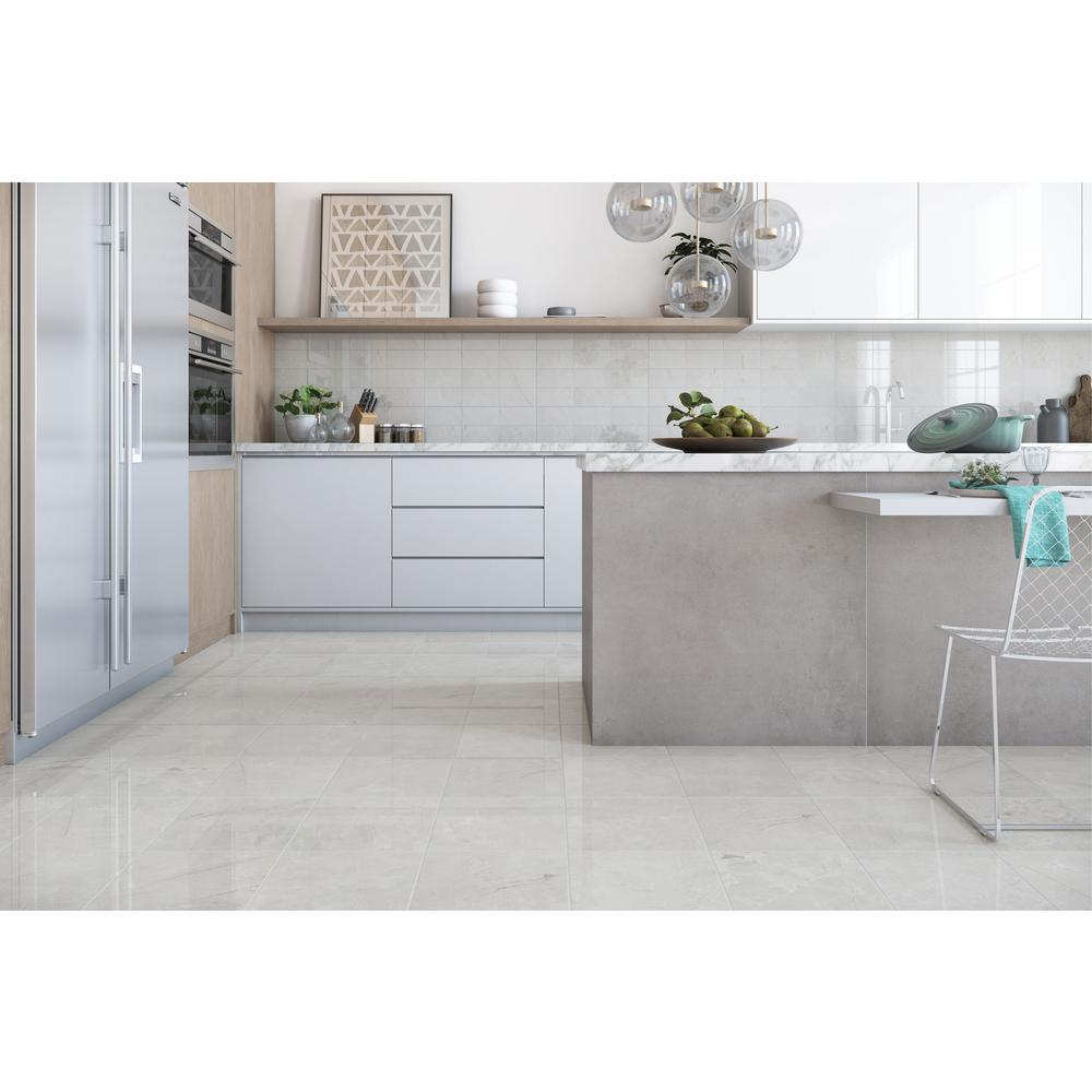 ELIANE Delray White 12 in. x 12 in. Ceramic Floor and Wall Tile (16.15 sq.  ft. / case)