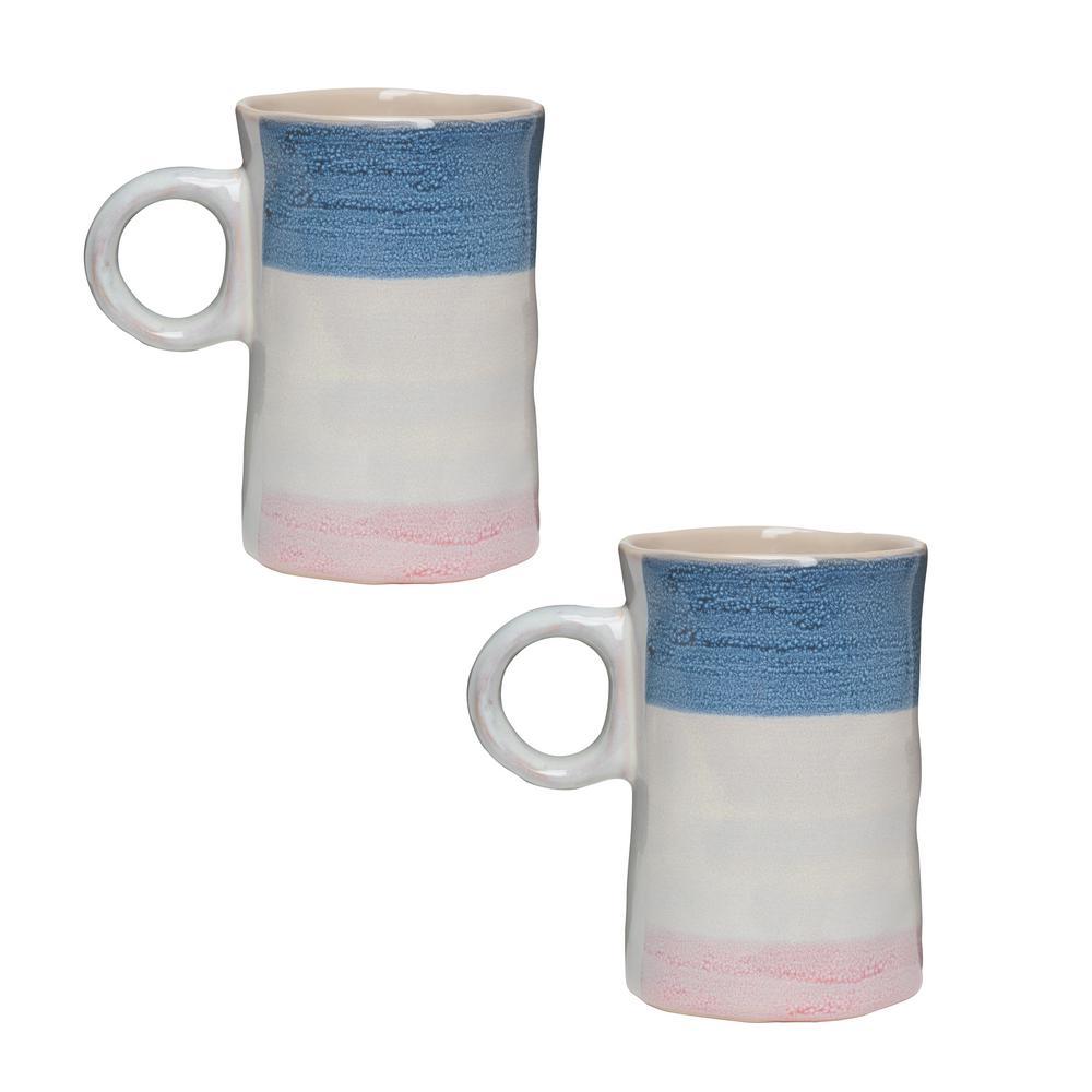 Primitive Agate 16 oz. Multicolor Ceramic Coffee Mug (Set of 2)