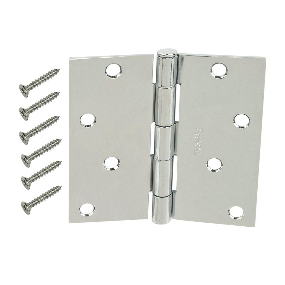 4 in. Chrome Square Corner Door Hinge