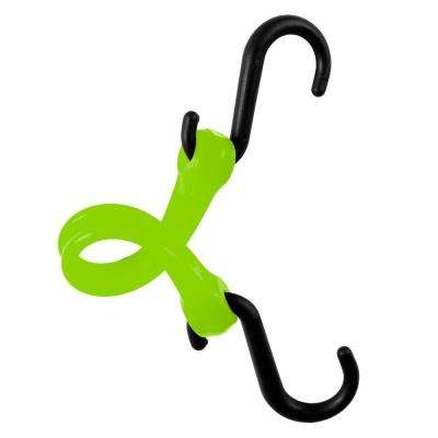 7 in. EZ-Stretch Polyurethane Bungee Strap with Nylon S-Hooks (Overall Length: 12 in.) in Safety Green