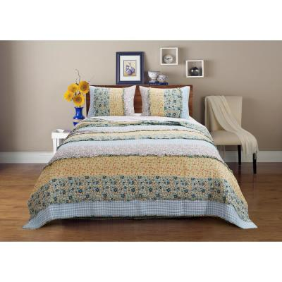 Ditsy Ruffle 3-Piece King Quilt Set