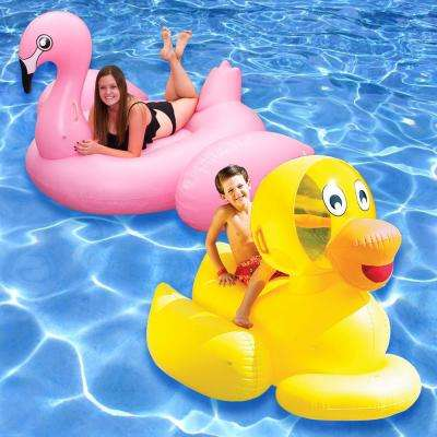 Giant Ducky and Jumbo Flamingo Swimming Pool Float Combo (2-Pack)