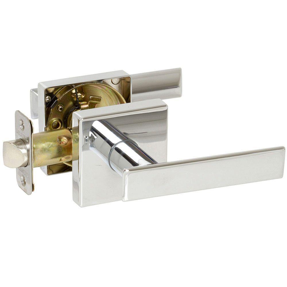 Kira Polished Chrome Bedroom and Bathroom Left Hand Door Lever Door Lock