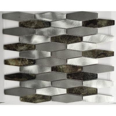 Chenx 11.81 in. x 13.97 in. Aluminum and Glass Mosaic Backsplash in White/Gray/Brown