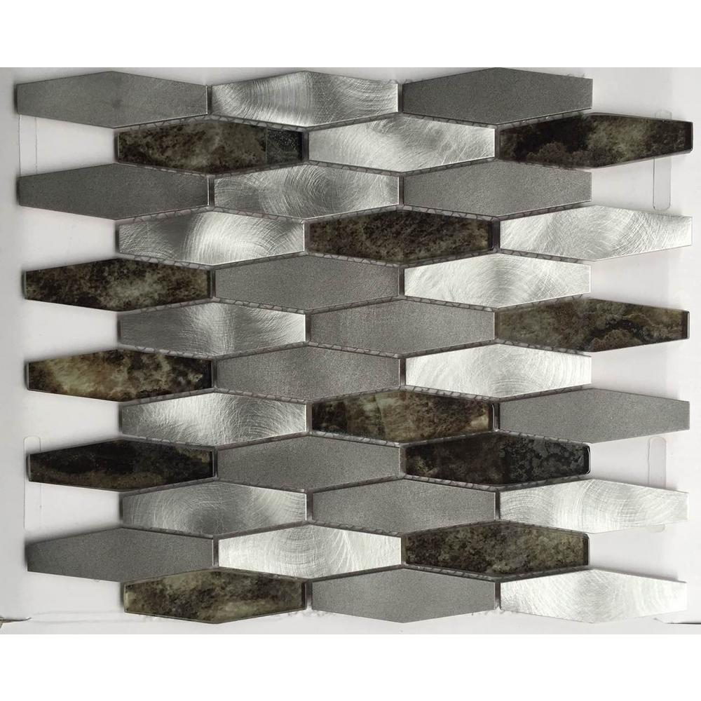 Beautiful Kitchen And Bathroom Mosaic: Aluminum And Glass Mosaic Backsplash White/Gray/Brown