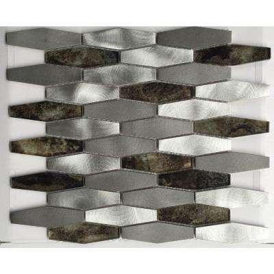CHENX 11.81 in. x 13.97 in. Aluminum and Glass Mosaic Backsplash in White/Gray/Brown (12.6 sq. ft./case)