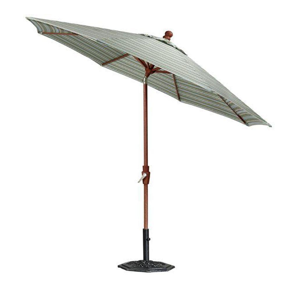 Home Decorators Collection Sunbrella 6 ft. Auto-Crank Patio Umbrella in Cilantro Stripe