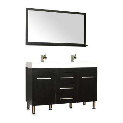 The Modern 47 in. W x 18.75 in. D Bath Vanity in Black with Acrylic Vanity Top in White with White Basin and Mirror
