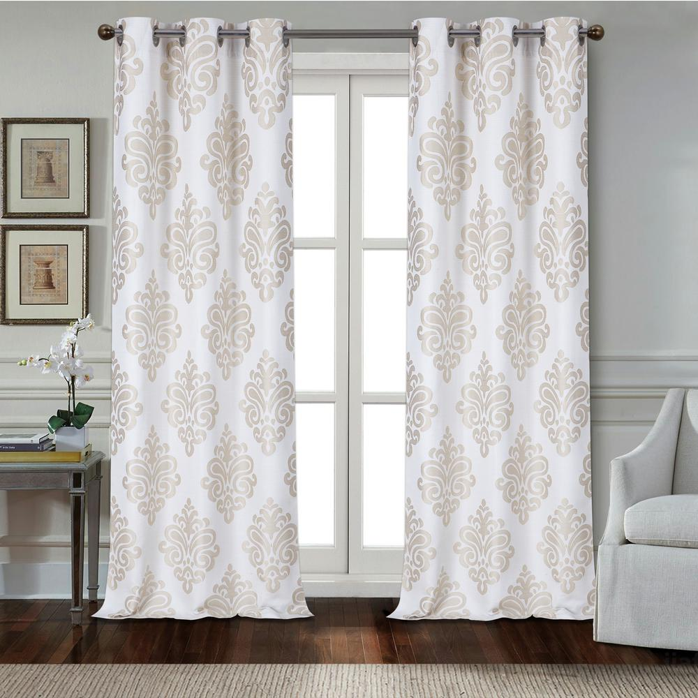 Taupe Polyester Textured Applique Grommet Window Curtain Panel 2