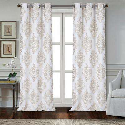 Marquise 84 in. Taupe Polyester Textured Applique Grommet Window Curtain Panel (2-Pack)