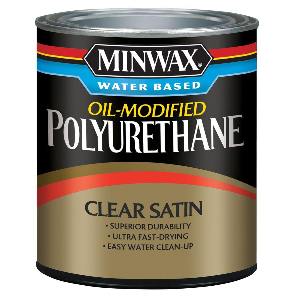 1 qt. Clear Satin Water Based Oil-Modified Polyurethane