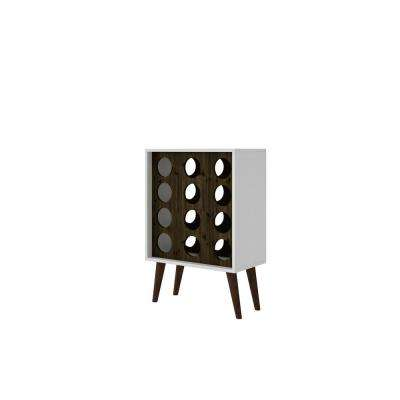 Lund 12-Bottle White and Rustic Brown Wine Cabinet and Display