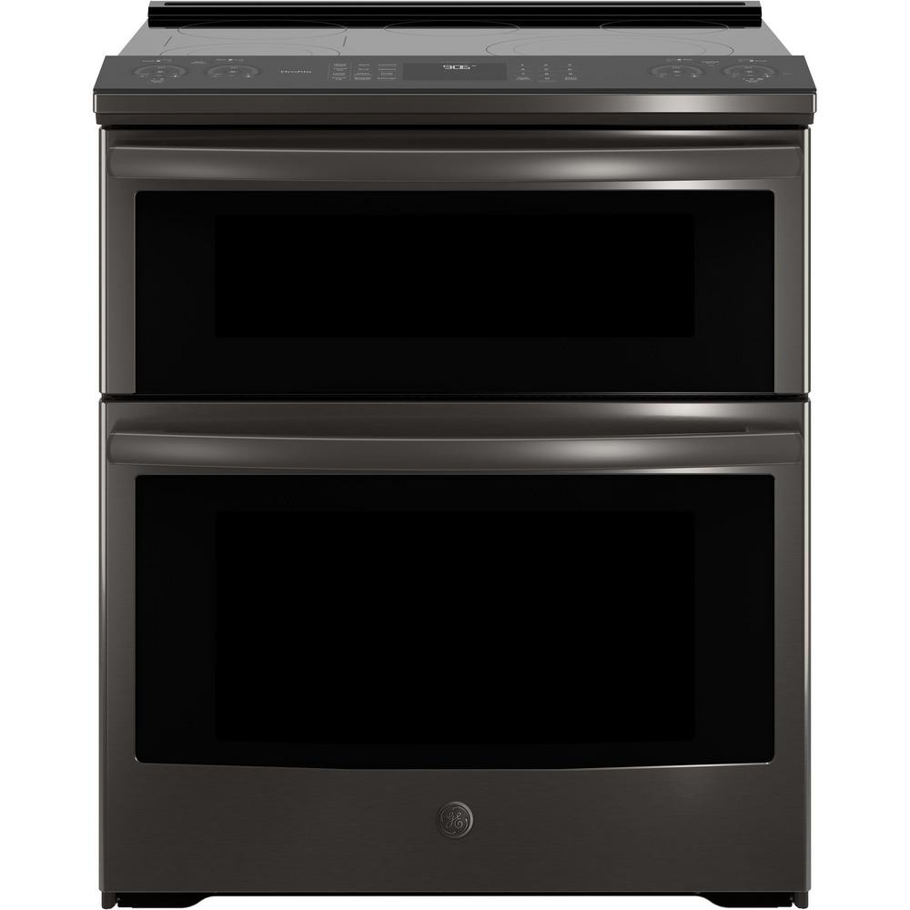 GE Profile 6 6 cu  ft  Slide-In Smart Double Oven Electric Range with  Self-Cleaning Convection in Black Stainless Steel