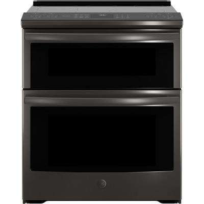 Profile 6.6 cu. ft. Slide-In Double Oven Smart Electric Range with Self-Cleaning Convection in Black Stainless Steel