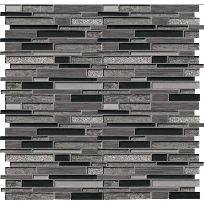 Metro Gris Interlocking 12 in. x 12 in. x 8 mm Textured Glass Stone Mesh-Mounted Mosaic Tile (10 sq. ft./case)
