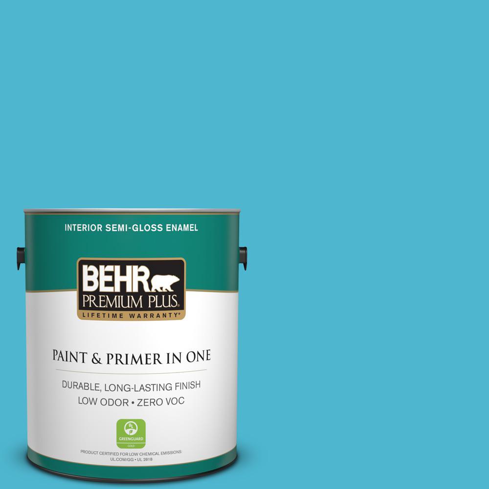 1-gal. #520B-5 Liquid Blue Zero VOC Semi-Gloss Enamel Interior Paint